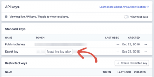 Publishable keys, Stripe donate button