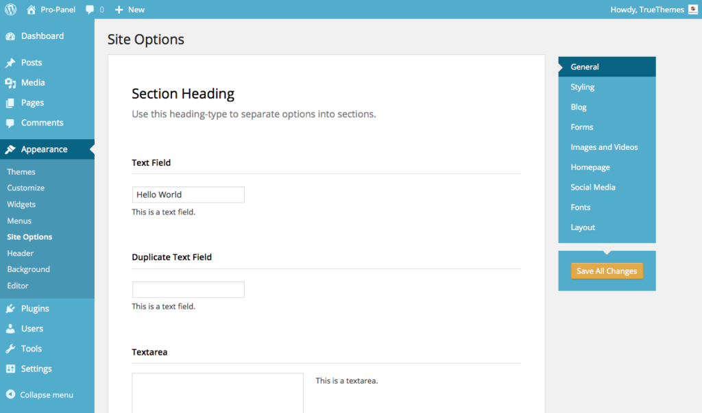 ProPanel options framework - WordPress Options Framework
