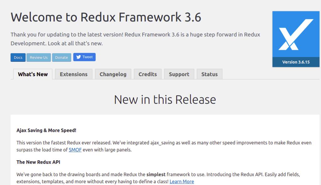 redux framework - wordpress options framework