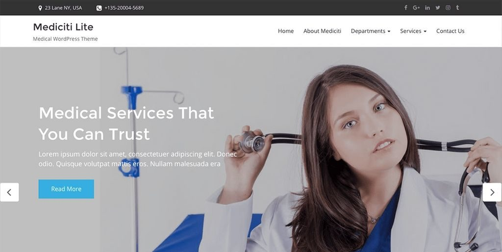 Mediciti Lite Theme - 20 Fastest WordPress Themes 2019