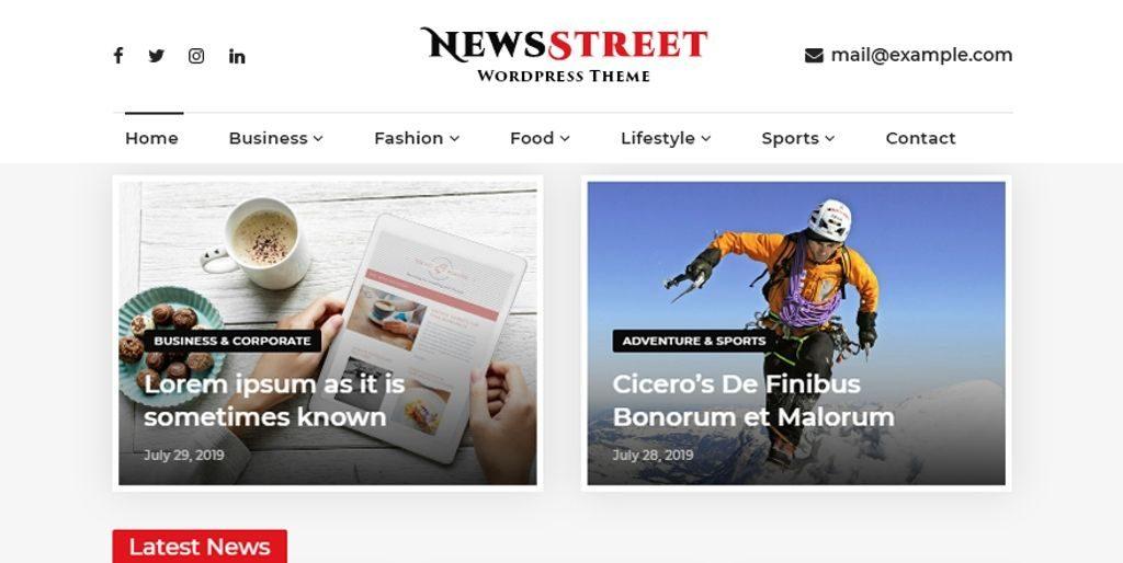 Newsstreet - 20 Fastest WordPress Themes 2019