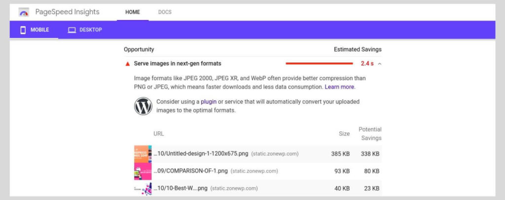 Image Compression Suggestions - How to Increase the PageSpeed Score of Your WordPress Website