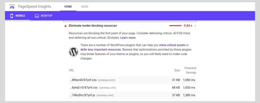 Eliminate render-blocking resources - How to Increase the PageSpeed Score of Your WordPress Website