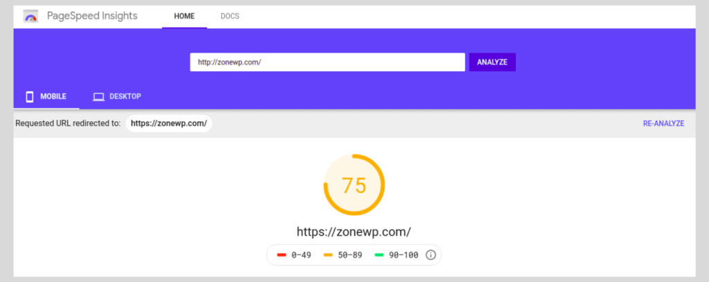 PageSpeed Insights score of ZoneWP's Mobile website