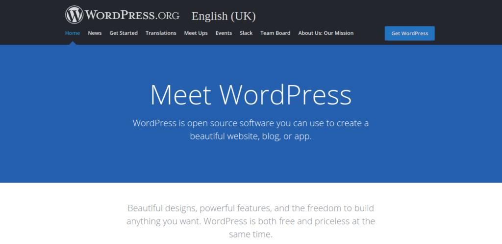 Self-hosted WordPress Homepage Screenshot