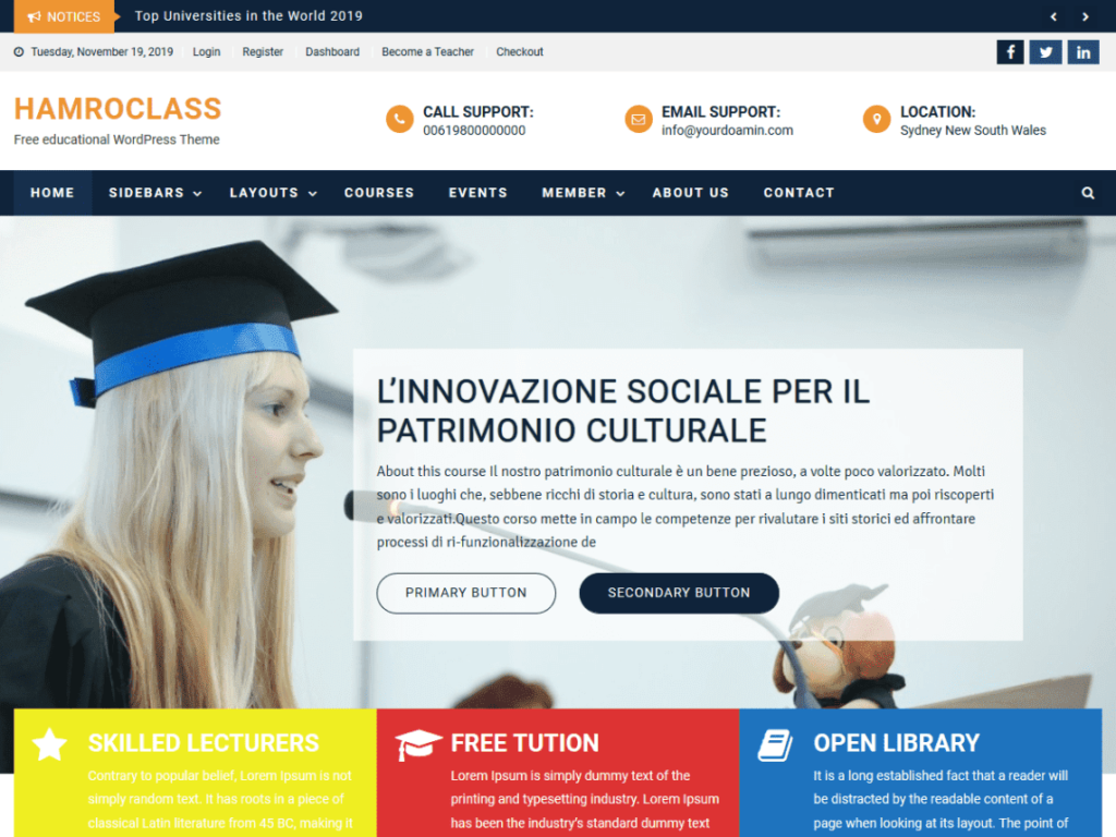 HamroClass - Best WordPress Education Theme