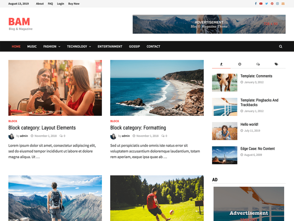 Bam - Best WordPress News and Magazine Themes