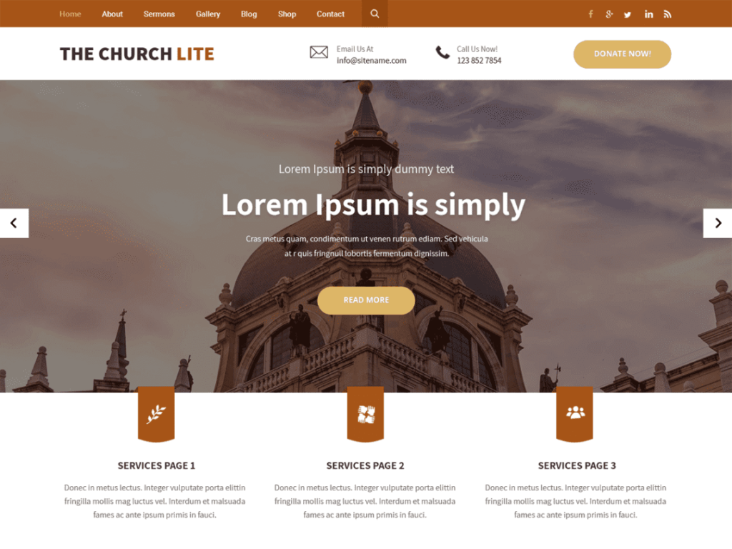 The Church Lite - Best Free WordPress Charity, Non-Profit Themes