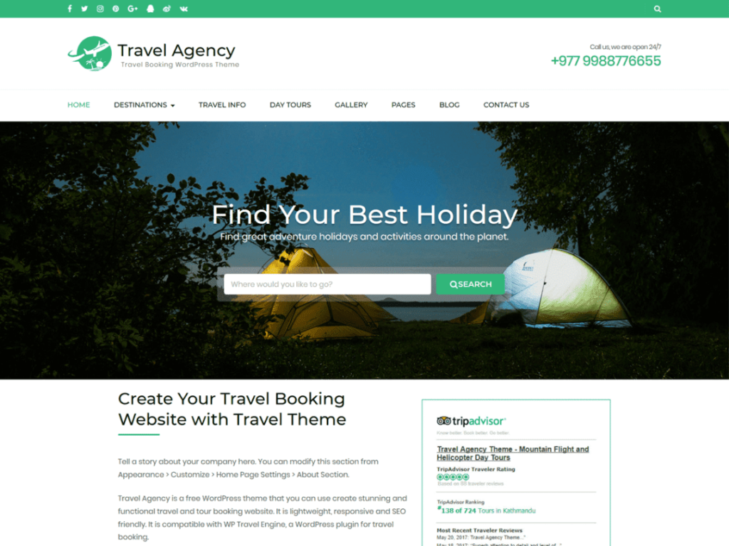 Travel Agency - Best WordPress Travel Themes