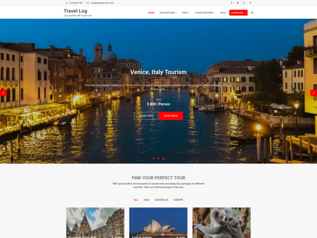 Travel Log - Best Free WordPress Travel Themes