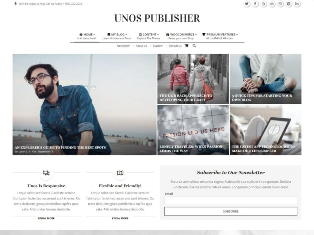 Unos Publisher - Best WordPress News Themes
