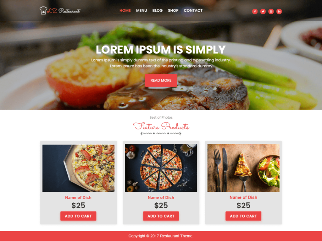 lzrestaurant - Best WordPress Food Themes