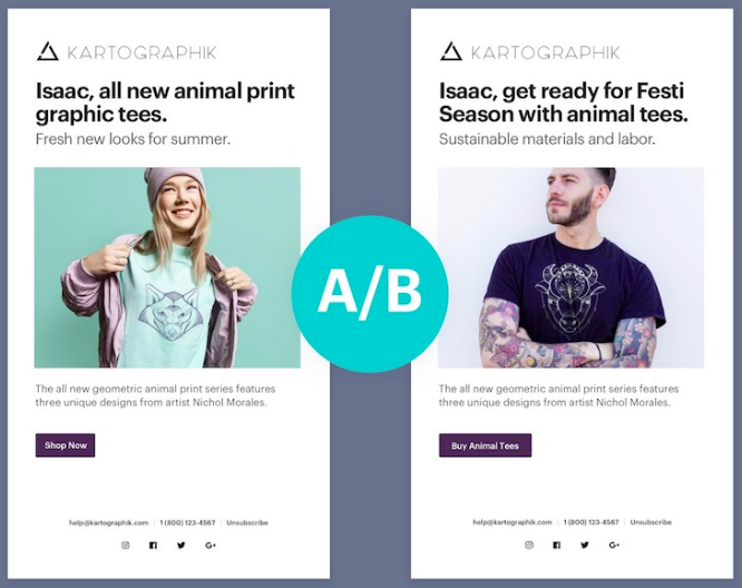 a/b testing email popup