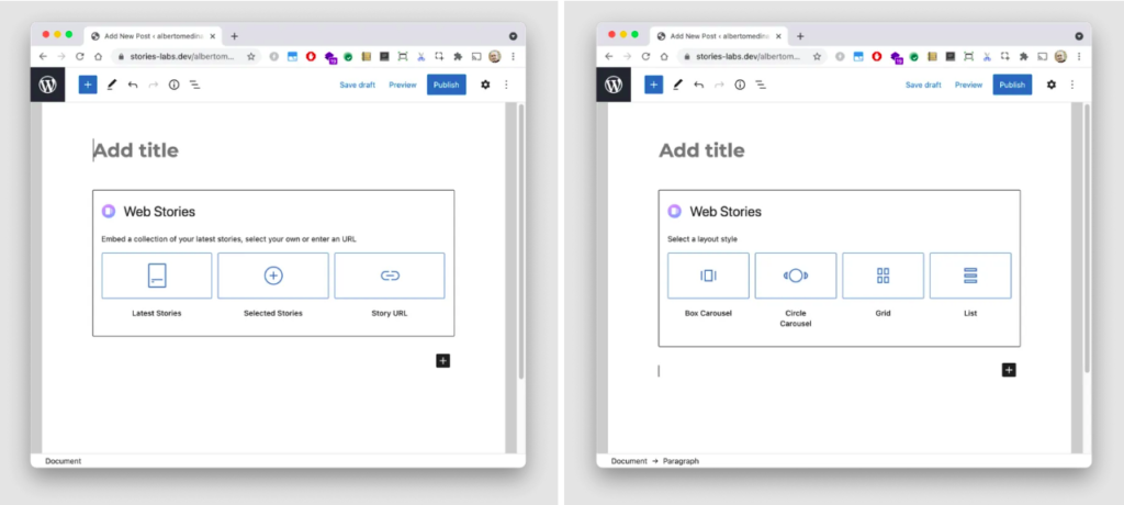 "web stories, A carousel of rectangular cards or circular items. A grid view with up to four columns, or a list of stacked stories are among the layouts available. Google explains how this benefits your ""content strategy"" in the following way:"