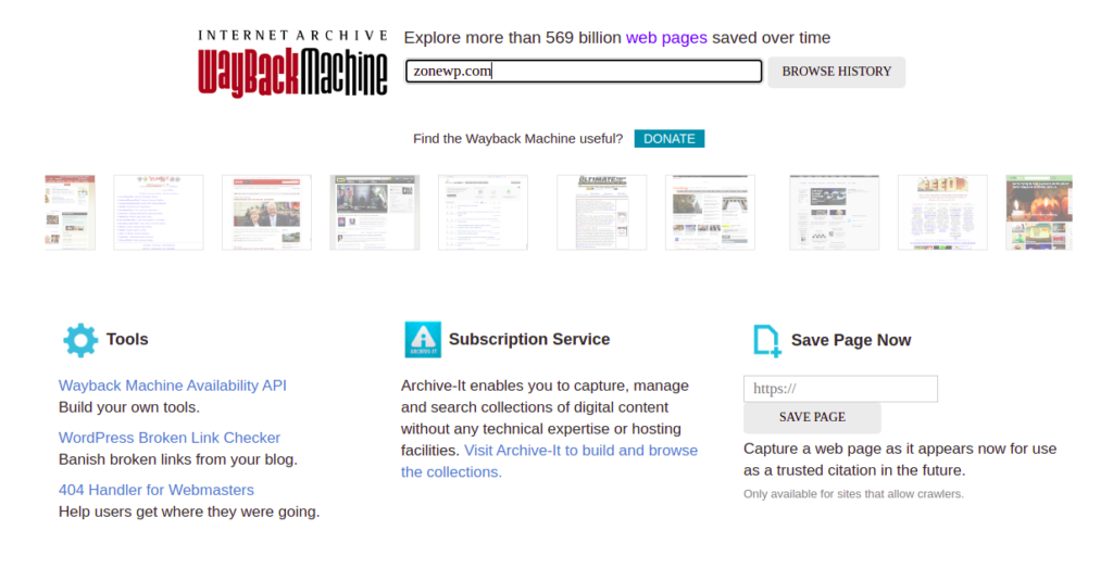 the Wayback Machine website
