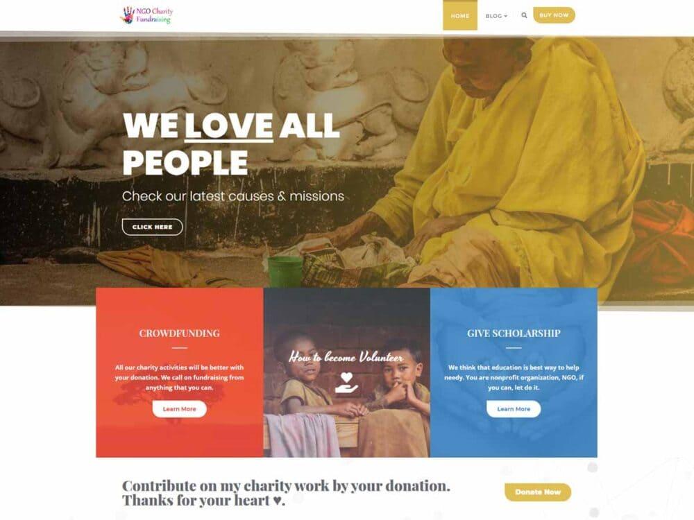 NGO Charity Fundraising, WordPress Theme for Nonprofits