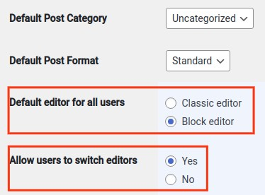 Where you will find the various options like Default Post Category, Default Post Format, Default editor for all users, Allow users to switch editors, and more.